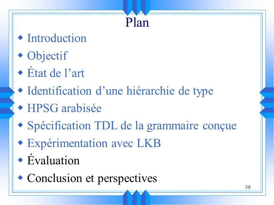 36 Plan Introduction Objectif État de lart Identification dune hiérarchie de type HPSG arabisée Spécification TDL de la grammaire conçue Expérimentation avec LKB Évaluation Conclusion et perspectives