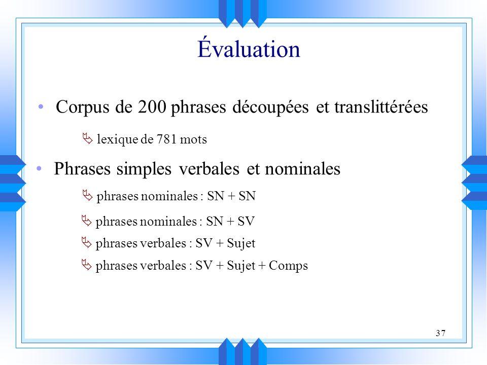 37 Évaluation Corpus de 200 phrases découpées et translittérées Phrases simples verbales et nominales phrases nominales : SN + SN phrases nominales : SN + SV phrases verbales : SV + Sujet phrases verbales : SV + Sujet + Comps lexique de 781 mots