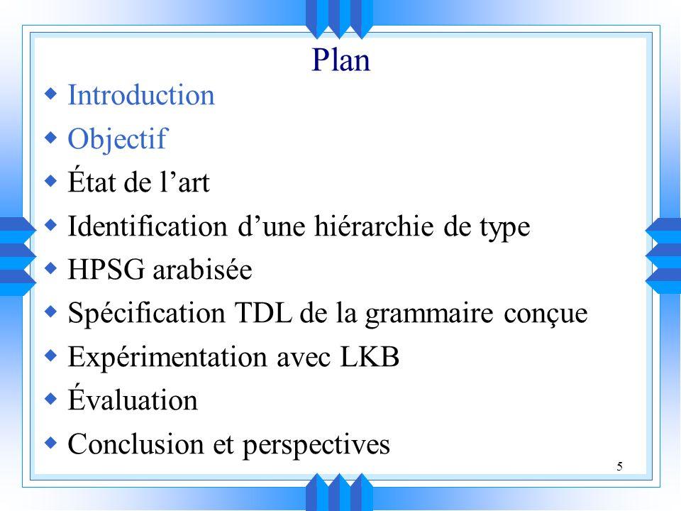 5 Plan Introduction Objectif État de lart Identification dune hiérarchie de type HPSG arabisée Spécification TDL de la grammaire conçue Expérimentation avec LKB Évaluation Conclusion et perspectives
