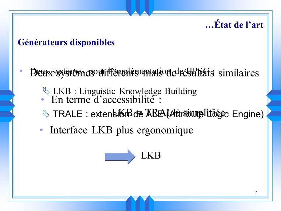 7 Deux systèmes pour limplémentation de HPSG : LKB : Linguistic Knowledge Building TRALE : extension de ALE (Attribute Logic Engine) Générateurs disponibles Deux systèmes différents mais de résultats similaires En terme daccessibilité : LKB = TRALE simplifiée Interface LKB plus ergonomique LKB …État de lart