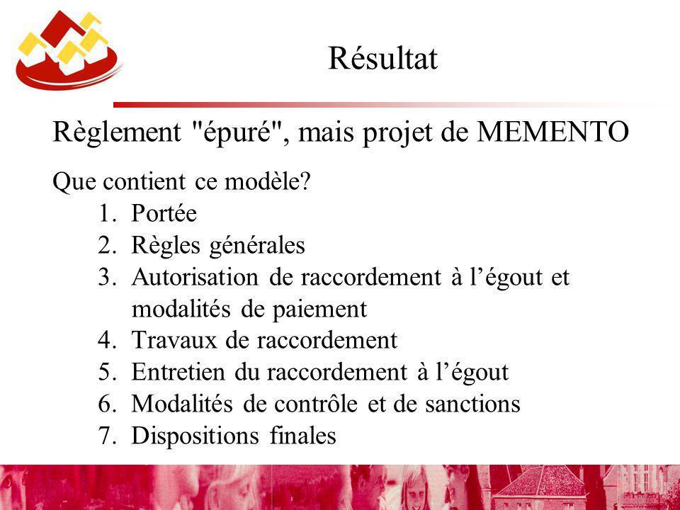 Résultat Règlement épuré , mais projet de MEMENTO Que contient ce modèle.