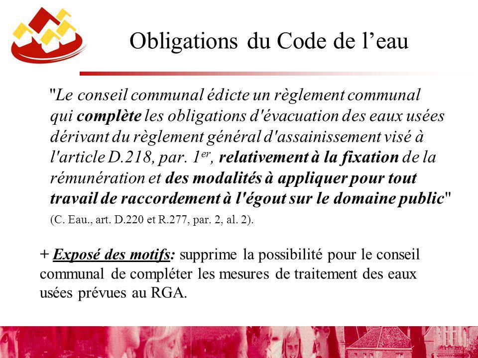 Obligations du Code de leau Le conseil communal édicte un règlement communal qui complète les obligations d évacuation des eaux usées dérivant du règlement général d assainissement visé à l article D.218, par.