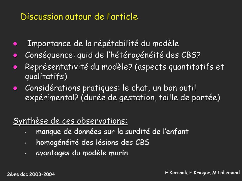 2ème doc 2003-2004 E.Kersnak, F.Krieger, M.Lallemand Discussion autour de larticle Importance de la répétabilité du modèle Importance de la répétabilité du modèle Conséquence: quid de lhétérogénéité des CBS.