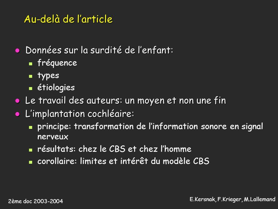 2ème doc 2003-2004 E.Kersnak, F.Krieger, M.Lallemand Au-delà de larticle Données sur la surdité de lenfant: Données sur la surdité de lenfant: fréquen