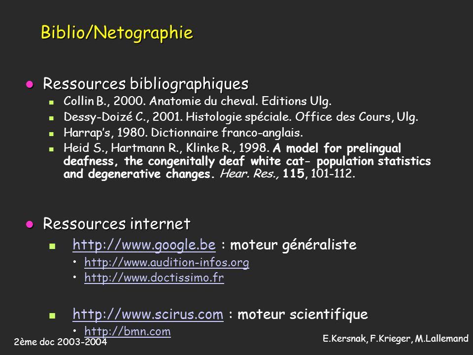 2ème doc 2003-2004 E.Kersnak, F.Krieger, M.Lallemand Biblio/Netographie Ressources bibliographiques Ressources bibliographiques n Collin B., 2000.