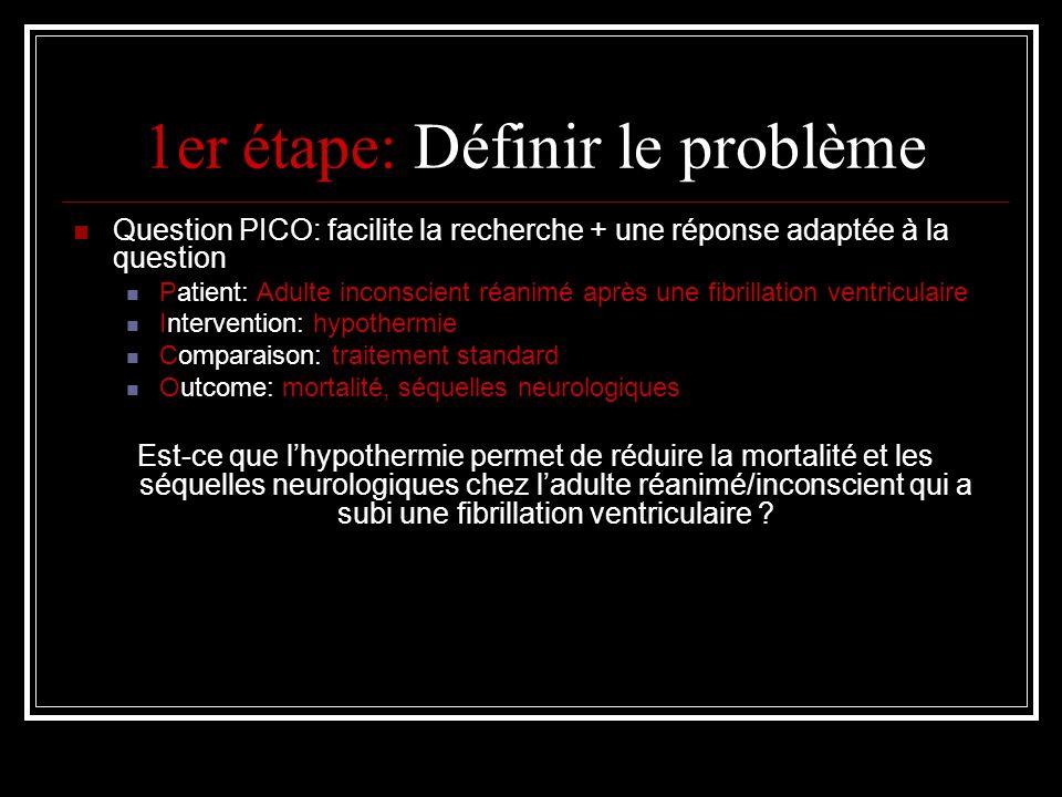 1er étape: Définir le problème Question PICO: facilite la recherche + une réponse adaptée à la question Patient: Adulte inconscient réanimé après une fibrillation ventriculaire Intervention: hypothermie Comparaison: traitement standard Outcome: mortalité, séquelles neurologiques Est-ce que lhypothermie permet de réduire la mortalité et les séquelles neurologiques chez ladulte réanimé/inconscient qui a subi une fibrillation ventriculaire