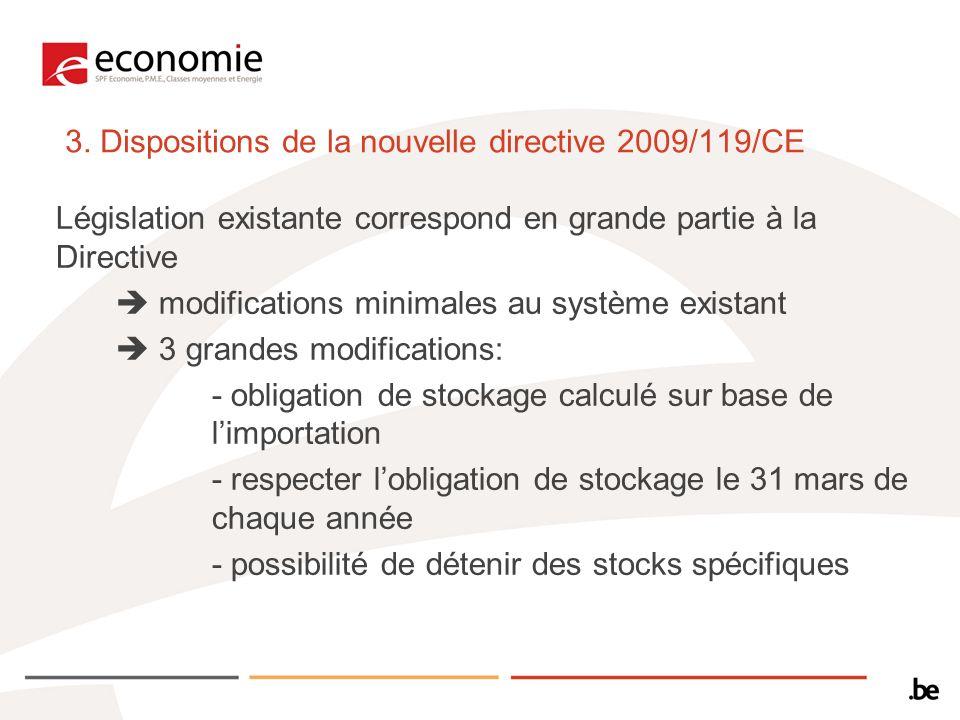 3. Dispositions de la nouvelle directive 2009/119/CE Législation existante correspond en grande partie à la Directive modifications minimales au systè