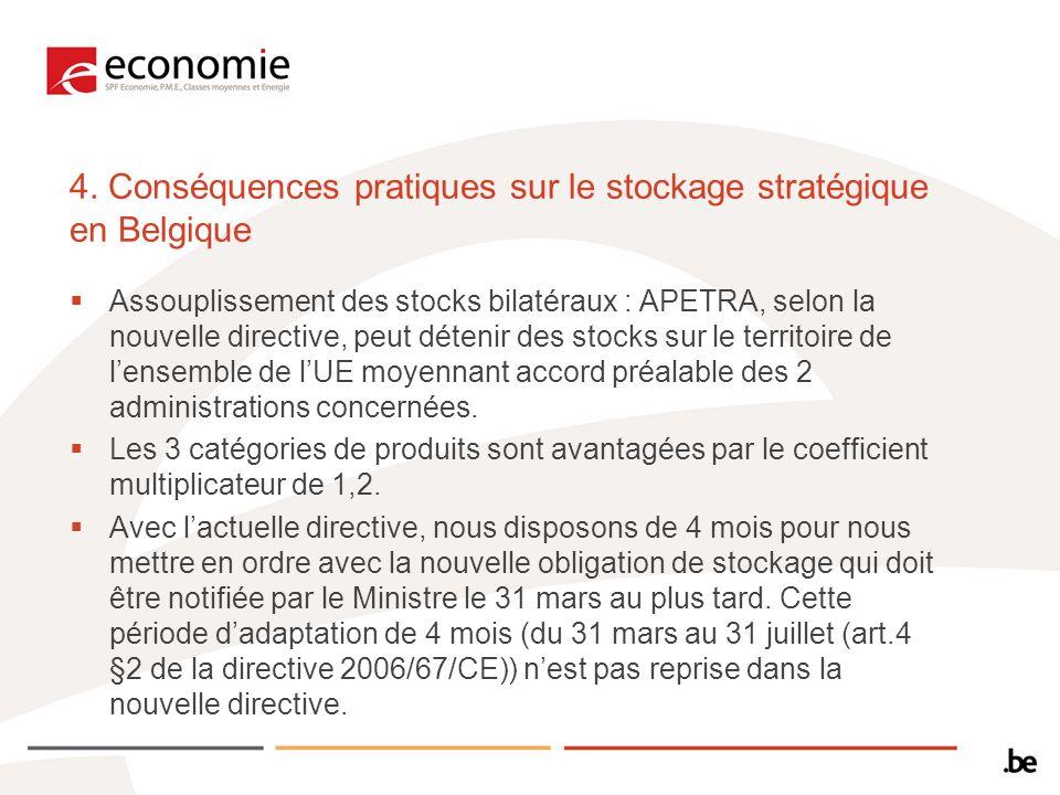 4. Conséquences pratiques sur le stockage stratégique en Belgique Assouplissement des stocks bilatéraux : APETRA, selon la nouvelle directive, peut dé