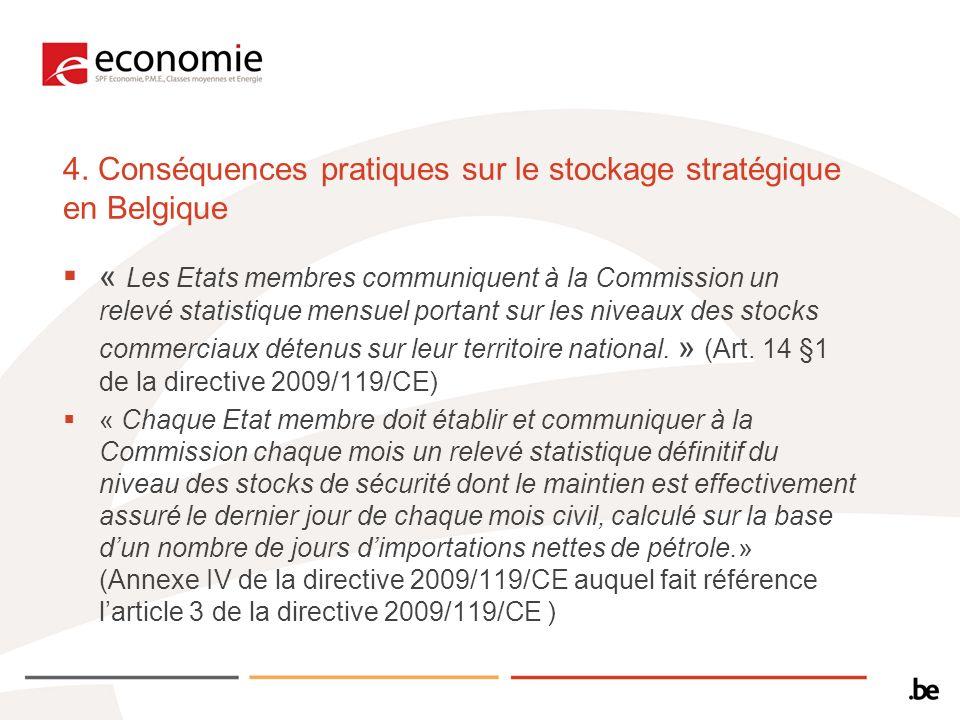 4. Conséquences pratiques sur le stockage stratégique en Belgique « Les Etats membres communiquent à la Commission un relevé statistique mensuel porta