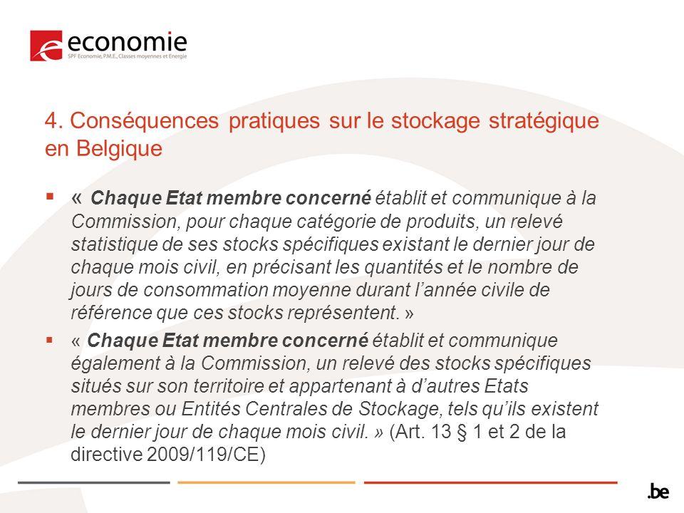 4. Conséquences pratiques sur le stockage stratégique en Belgique « Chaque Etat membre concerné établit et communique à la Commission, pour chaque cat
