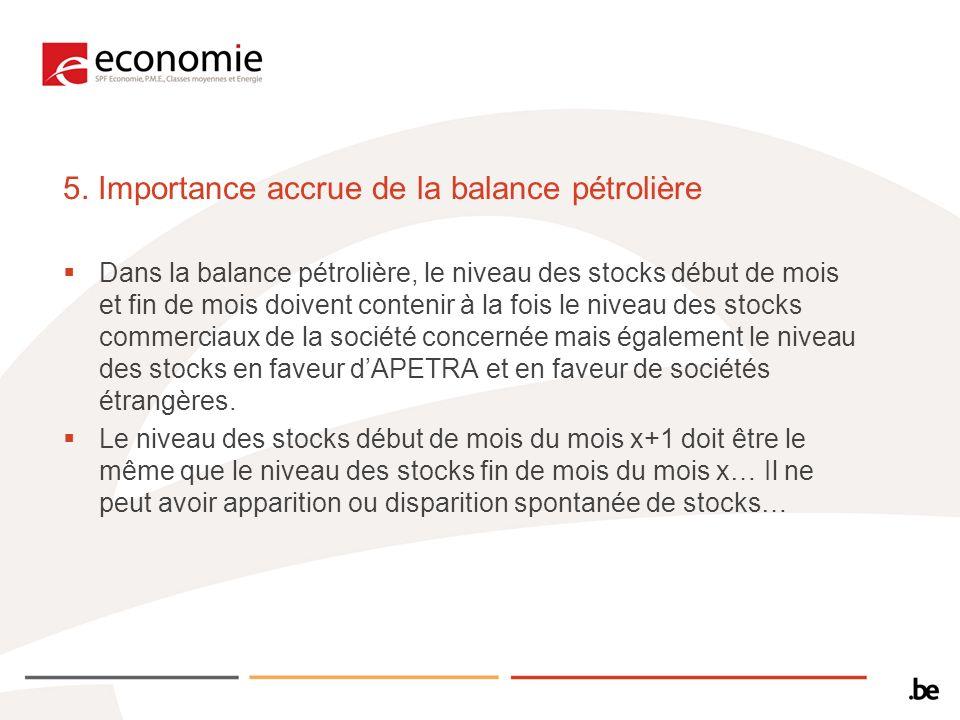 5. Importance accrue de la balance pétrolière Dans la balance pétrolière, le niveau des stocks début de mois et fin de mois doivent contenir à la fois