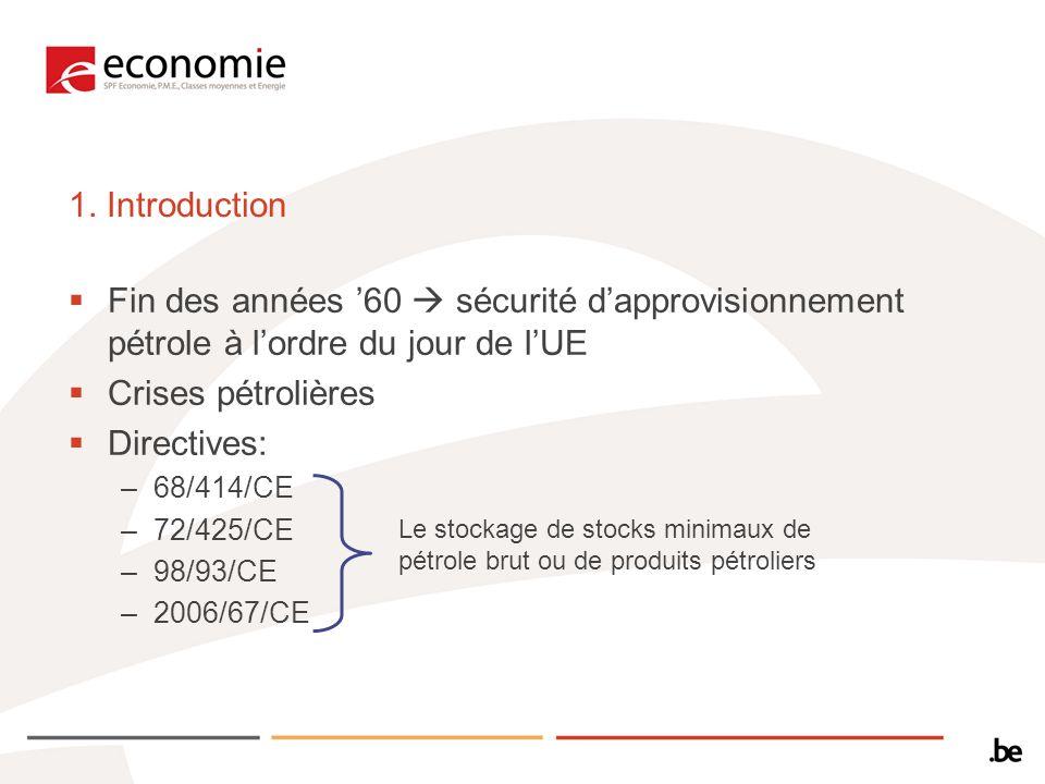 1. Introduction Fin des années 60 sécurité dapprovisionnement pétrole à lordre du jour de lUE Crises pétrolières Directives: –68/414/CE –72/425/CE –98