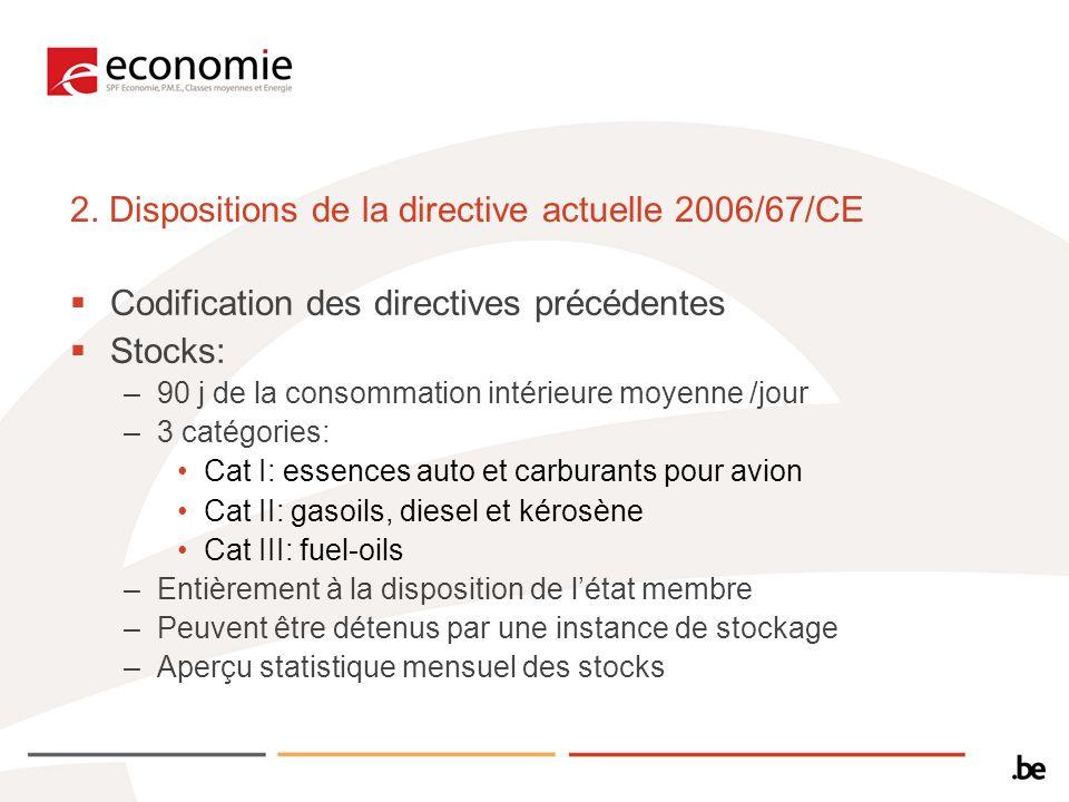 2. Dispositions de la directive actuelle 2006/67/CE Codification des directives précédentes Stocks: –90 j de la consommation intérieure moyenne /jour