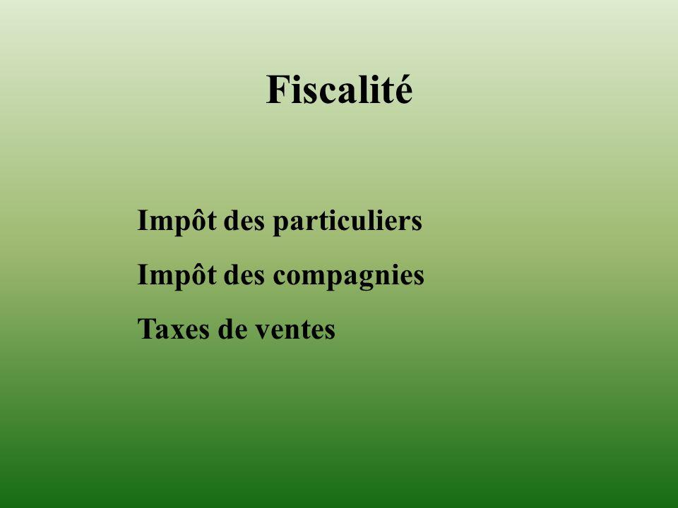 Fiscalité Impôt des particuliers Impôt des compagnies Taxes de ventes