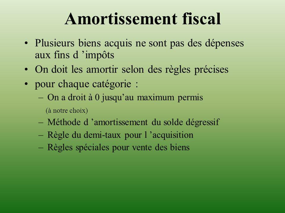 Amortissement fiscal Plusieurs biens acquis ne sont pas des dépenses aux fins d impôts On doit les amortir selon des règles précises pour chaque catég