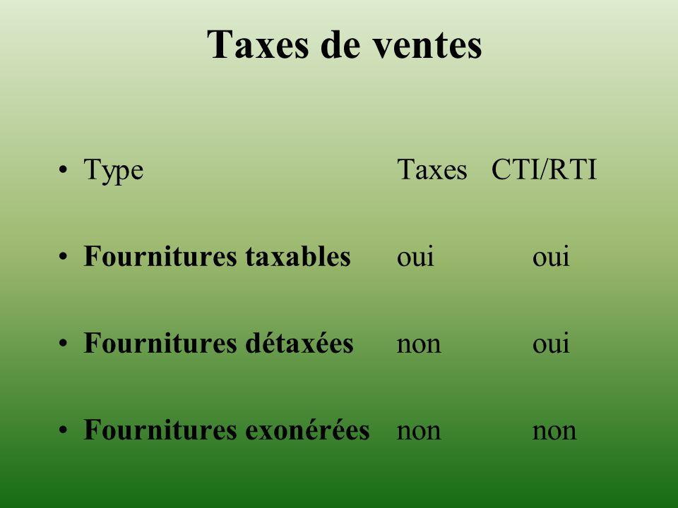 Taxes de ventes Type Taxes CTI/RTI Fournitures taxables ouioui Fournitures détaxéesnonoui Fournitures exonéréesnonnon