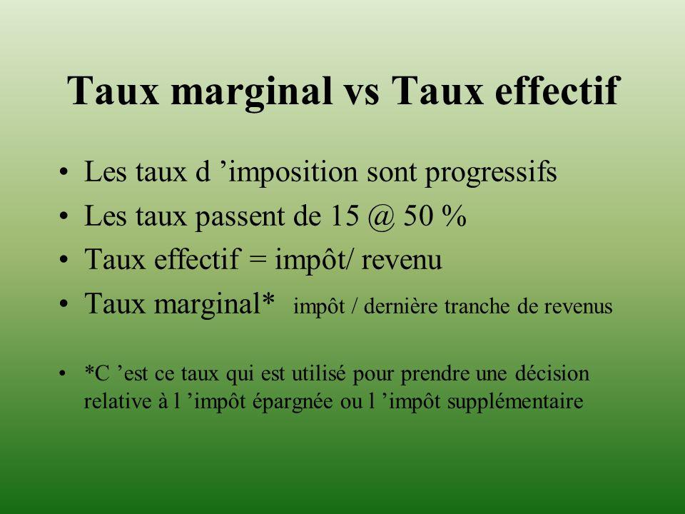 Taux marginal vs Taux effectif Les taux d imposition sont progressifs Les taux passent de 15 @ 50 % Taux effectif = impôt/ revenu Taux marginal* impôt