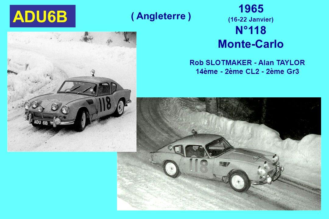 ADU6B 1965 (16-22 Janvier) N°118 Monte-Carlo Rob SLOTMAKER - Alan TAYLOR 14ème - 2ème CL2 - 2ème Gr3 ( Angleterre )