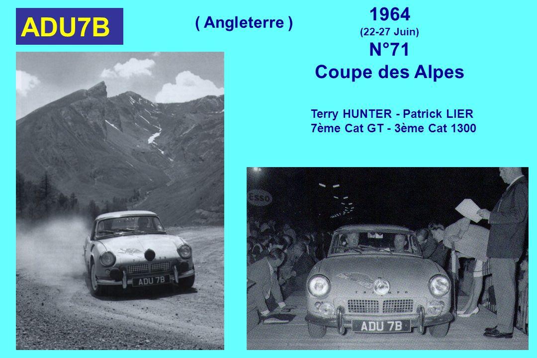 ADU7B 1964 (22-27 Juin) N°71 Coupe des Alpes Terry HUNTER - Patrick LIER 7ème Cat GT - 3ème Cat 1300 ( Angleterre )