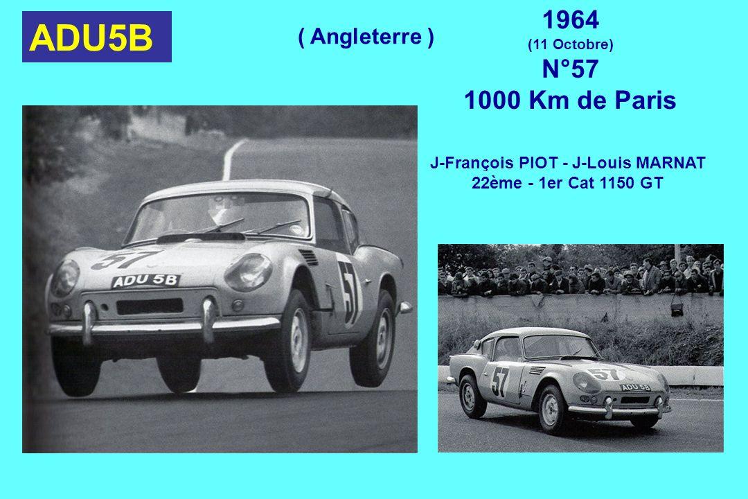 ADU5B 1964 (11 Octobre) N°57 1000 Km de Paris J-François PIOT - J-Louis MARNAT 22ème - 1er Cat 1150 GT ( Angleterre )