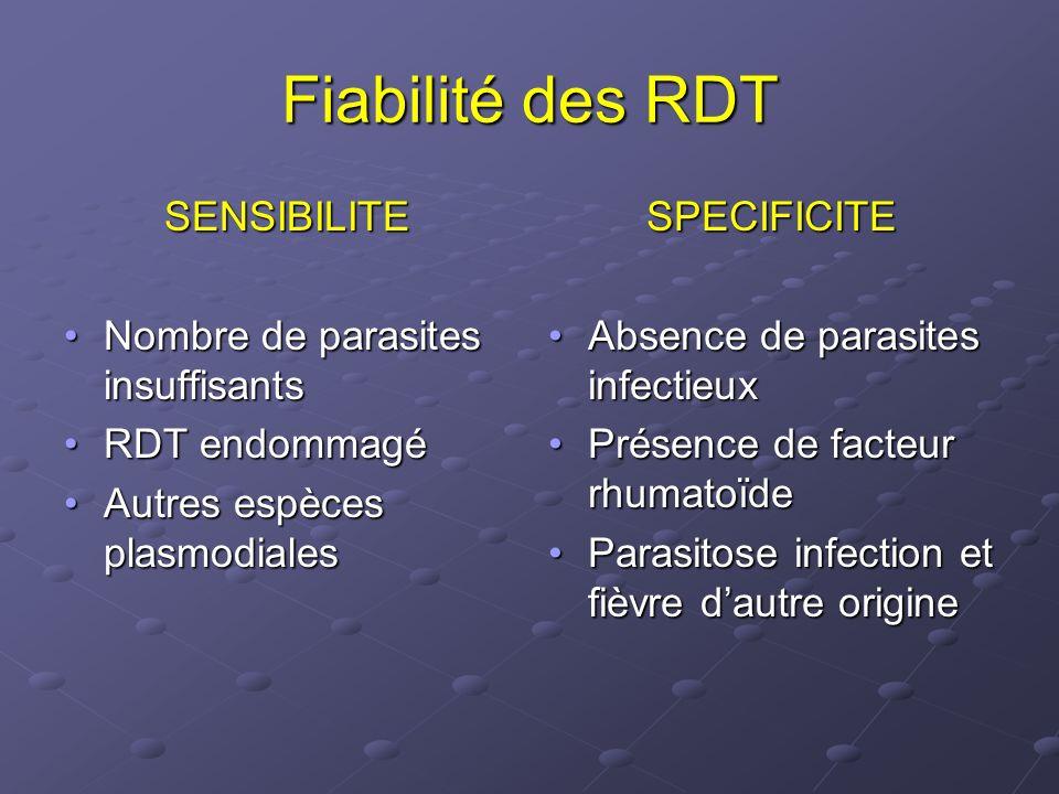 Etude Dr Ménard [22] CareStart Malaria SD Malaria Antigen Bioline OptiMAL-IT Pf Non Pf Pf Non Pf (n=172) (n=119) Pf Non Pf Pf Non Pf (n=172) (n=119) (n=172) (n=119) Pf Non Pf Pf Non Pf (n=172) (n=119) (n=172) (n=119) Sensibilité (IC 95%) 97.0 97.0(90.3-99.5) 92.3 92.3(67.5-99.6) 89.4 89.4(80.1-95.2) 73.3 73.3 (47.5-90.9) (47.5-90.9) 92.6 92.6(84.5-97.3) 86.7 86.7(62.5-97.7) Spécificité (IC 95%) 94.1 94.1(88.1-97.6) 96.9 96.9(91.9-99.2) 97.1 97.1(92.2-99.2) 98.0 98.0 (93.6-99.7) (93.6-99.7) 100 100 (97.1-100) (97.1-100) 98.1 98.1(93.8-99.7) VPP (IC 95%) 91.4 91.4(83.0-96.5) 80.0 80.0(54.7-94.6) 95.1 95.1(87.2-98.7) 84.6 84.6 (57.8-97.3) (57.8-97.3) 100 100(95.4-100) 86.7 86.7(62.5-97.7) VPN (IC 95%) 97.9 97.9(93.4-99.7) 99.0 99.0(95.0-99.9) 93.4 93.4(87.4-97.1) 96.1 96.1 (90.9-98.8) (90.9-98.8) 95.3 95.3 (89.9-98.3) (89.9-98.3) 98.1 98.1(93.8-99.7)