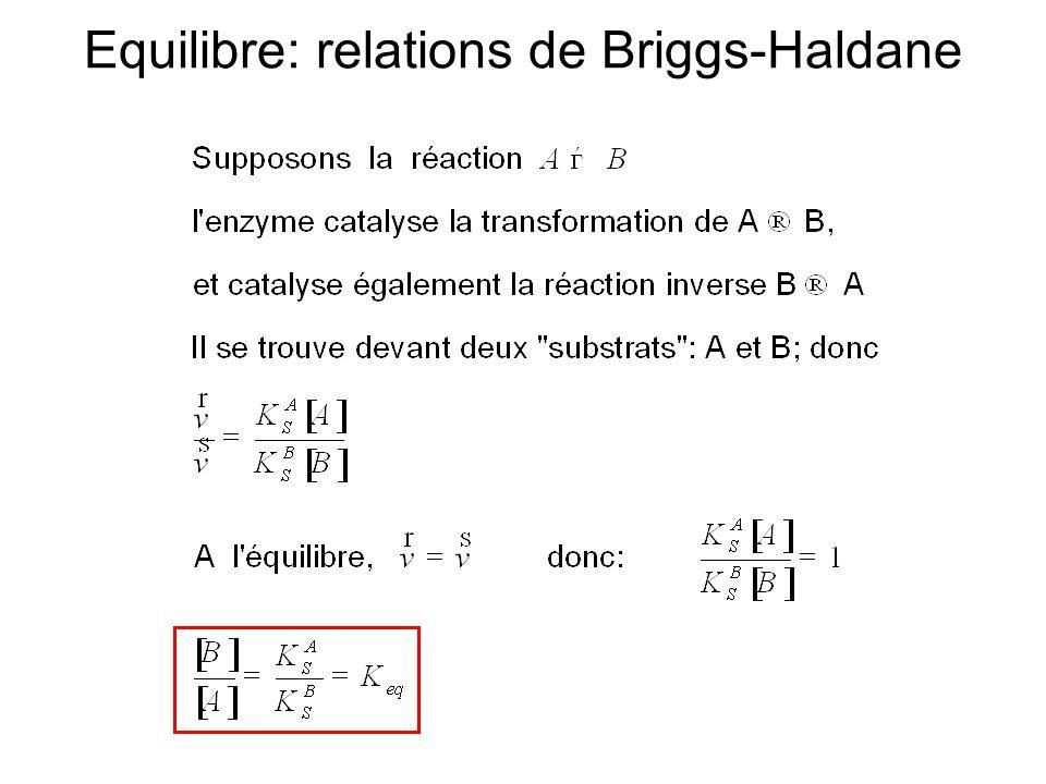 Equilibre: relations de Briggs-Haldane