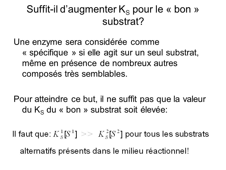 Suffit-il daugmenter K S pour le « bon » substrat.