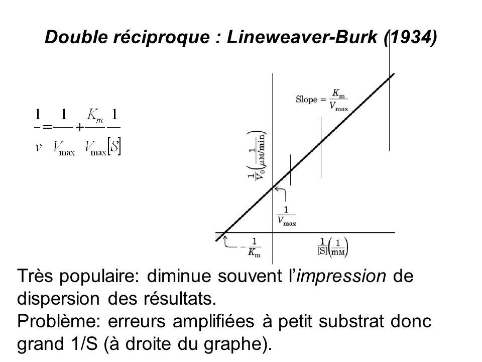 Double réciproque : Lineweaver-Burk (1934) Très populaire: diminue souvent limpression de dispersion des résultats.
