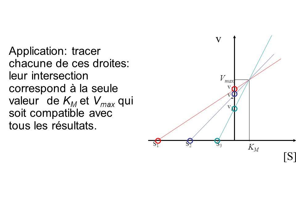Application: tracer chacune de ces droites: leur intersection correspond à la seule valeur de K M et V max qui soit compatible avec tous les résultats.