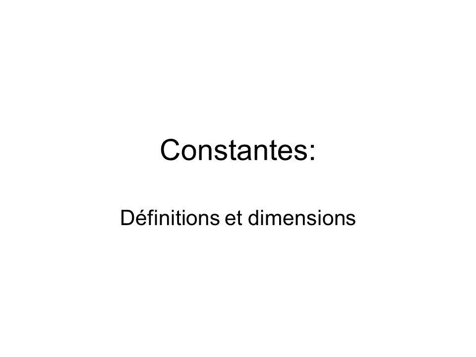 Constantes: Définitions et dimensions