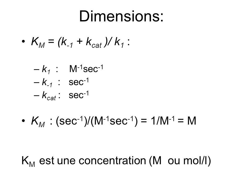 K M = (k -1 + k cat )/ k 1 : –k 1 : M -1 sec -1 –k -1 : sec -1 –k cat : sec -1 K M : (sec -1 )/(M -1 sec -1 ) = 1/M -1 = M K M est une concentration (M ou mol/l) Dimensions: