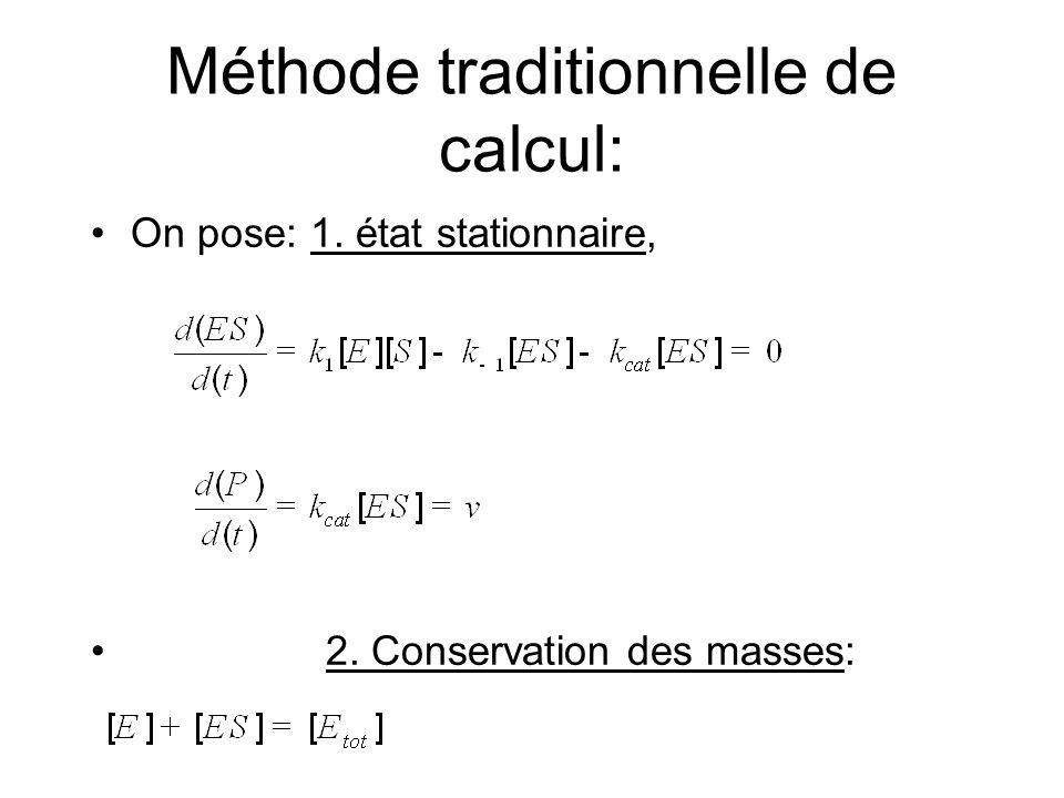 Méthode traditionnelle de calcul: On pose: 1. état stationnaire, 2. Conservation des masses: