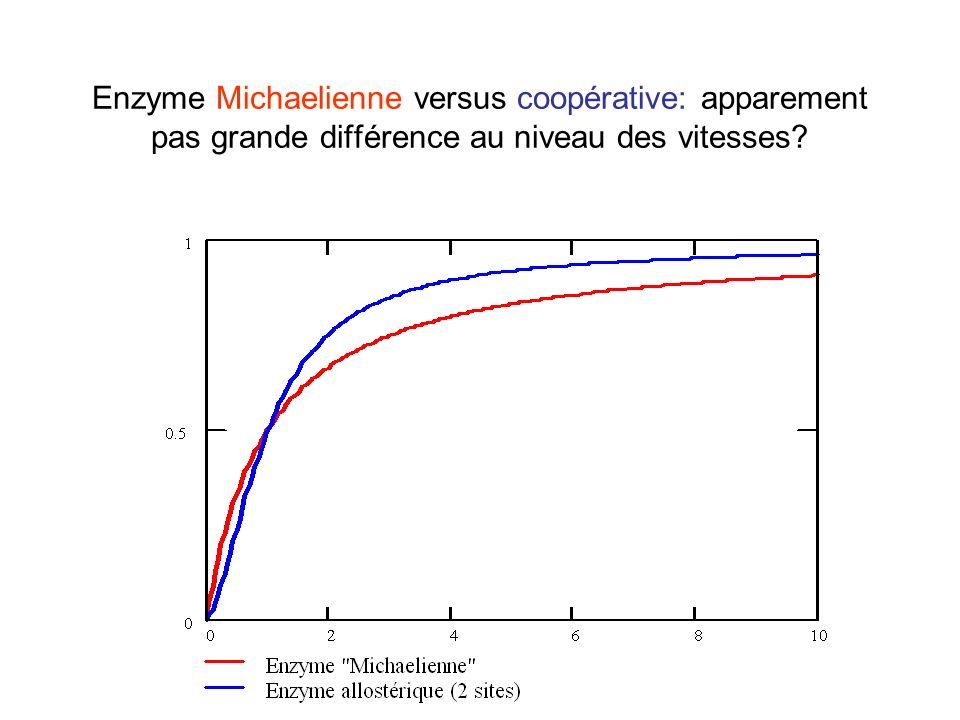 Enzyme Michaelienne versus coopérative: apparement pas grande différence au niveau des vitesses?