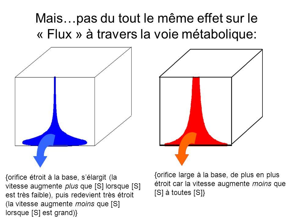 Mais…pas du tout le même effet sur le « Flux » à travers la voie métabolique: {orifice large à la base, de plus en plus étroit car la vitesse augmente moins que [S] à toutes [S]} {orifice étroit à la base, sélargit (la vitesse augmente plus que [S] lorsque [S] est très faible), puis redevient très étroit (la vitesse augmente moins que [S] lorsque [S] est grand)}