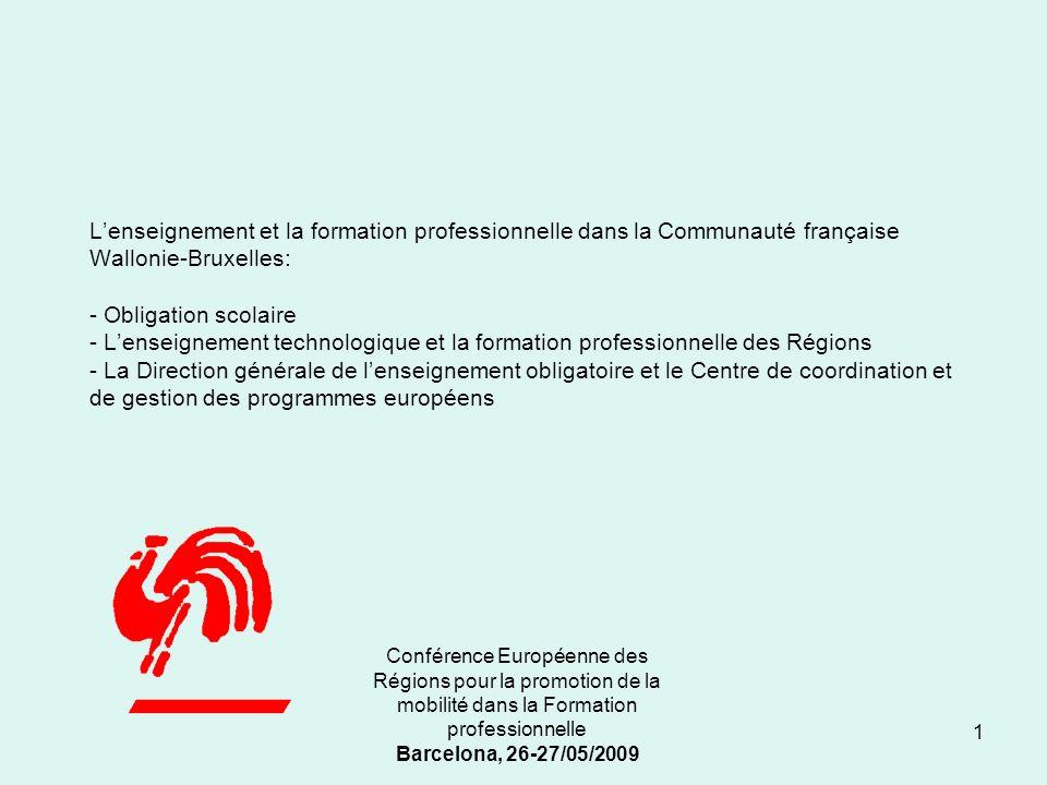 Conférence Européenne des Régions pour la promotion de la mobilité dans la Formation professionnelle Barcelona, 26-27/05/2009 I.