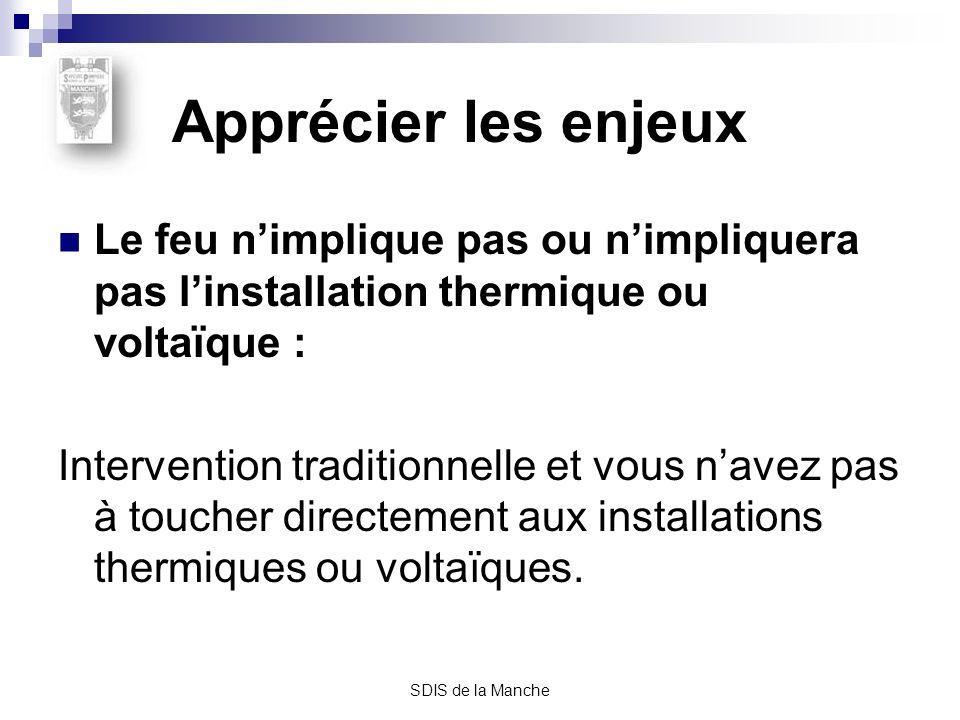 SDIS de la Manche Apprécier les enjeux Le feu nimplique pas ou nimpliquera pas linstallation thermique ou voltaïque : Intervention traditionnelle et v