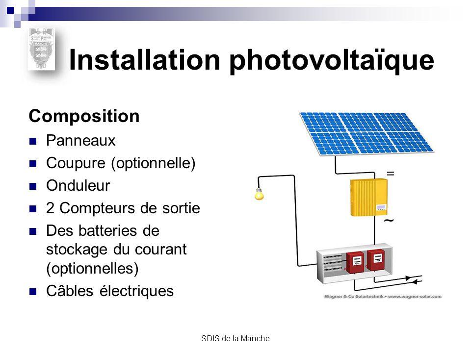 SDIS de la Manche Le panneau (ou module) Composé dune série de cellules photovoltaïques, il transforme lénergie solaire captée en courant électrique continu, Surface: 1 à 1,5 m2, Puissance: 100 à 200 Watt- crête,* Tension: 25 à 70 volts en courant continu, Il peut être posé sur le toit, intégré à la structure du bâtiment ou posé au sol.