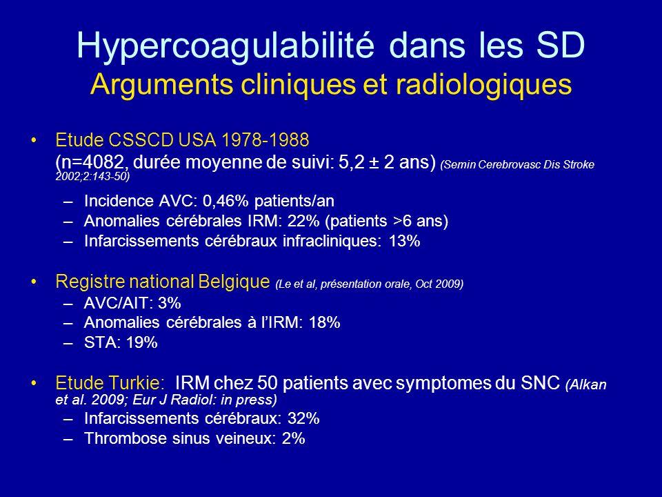 Hypercoagulabilité dans les SD Arguments cliniques et radiologiques Etude CSSCD USA 1978-1988 (n=4082, durée moyenne de suivi: 5,2 ± 2 ans) (Semin Cer