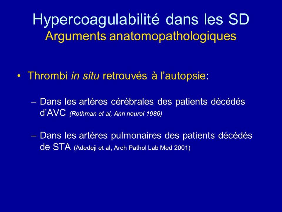 Hypercoagulabilité dans les SD Arguments anatomopathologiques Thrombi in situ retrouvés à lautopsie: –Dans les artères cérébrales des patients décédés