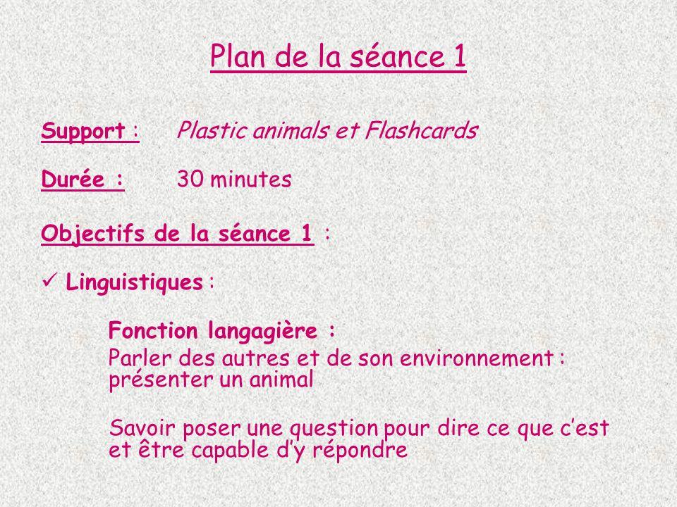 Plan de la séance 1 Support : Plastic animals et Flashcards Durée : 30 minutes Objectifs de la séance 1 : Linguistiques : Fonction langagière : Parler