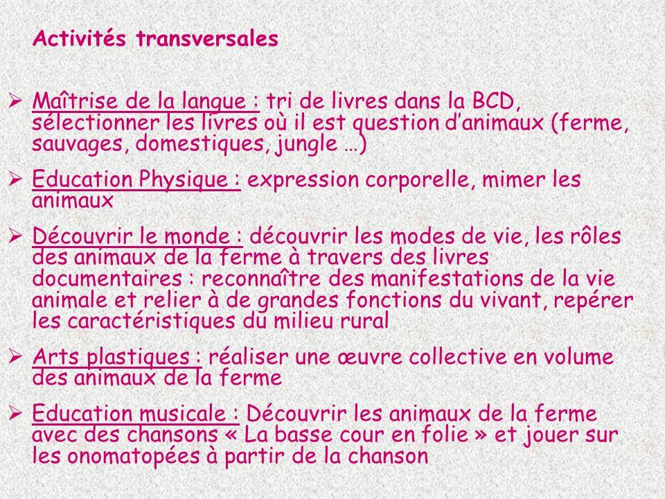 Activités transversales Maîtrise de la langue : tri de livres dans la BCD, sélectionner les livres où il est question danimaux (ferme, sauvages, domes