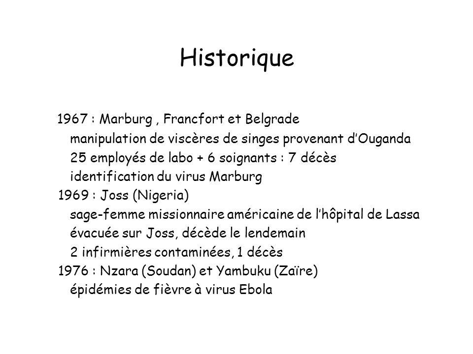 Historique 1967 : Marburg, Francfort et Belgrade manipulation de viscères de singes provenant dOuganda 25 employés de labo + 6 soignants : 7 décès identification du virus Marburg 1969 : Joss (Nigeria) sage-femme missionnaire américaine de lhôpital de Lassa évacuée sur Joss, décède le lendemain 2 infirmières contaminées, 1 décès 1976 : Nzara (Soudan) et Yambuku (Zaïre) épidémies de fièvre à virus Ebola