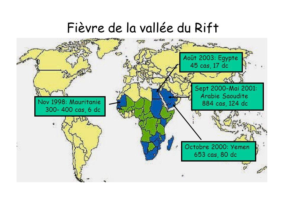 Fièvre de la vallée du Rift Août 2003: Egypte 45 cas, 17 dc Sept 2000-Mai 2001: Arabie Saoudite 884 cas, 124 dc Octobre 2000: Yemen 653 cas, 80 dc Nov 1998: Mauritanie 300- 400 cas, 6 dc