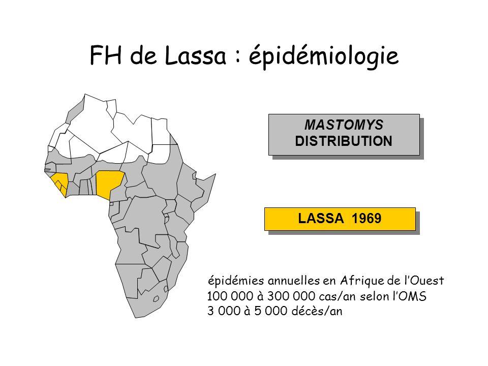 FH de Lassa : épidémiologie MASTOMYS DISTRIBUTION MASTOMYS DISTRIBUTION LASSA 1969 épidémies annuelles en Afrique de lOuest 100 000 à 300 000 cas/an selon lOMS 3 000 à 5 000 décès/an