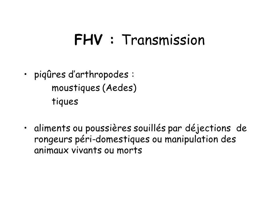 FHV : Transmission piqûres darthropodes : moustiques (Aedes) tiques aliments ou poussières souillés par déjections de rongeurs péri-domestiques ou manipulation des animaux vivants ou morts
