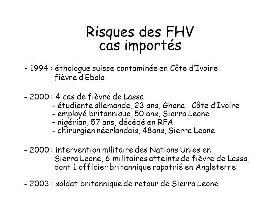 Risques des FHV cas importés - 1994 : éthologue suisse contaminée en Côte dIvoire fièvre dEbola - 2000 : 4 cas de fièvre de Lassa - étudiante allemande, 23 ans, Ghana Côte dIvoire - employé britannique, 50 ans, Sierra Leone - nigérian, 57 ans, décédé en RFA - chirurgien néerlandais, 48ans, Sierra Leone - 2000 : intervention militaire des Nations Unies en Sierra Leone, 6 militaires atteints de fièvre de Lassa, dont 1 officier britannique rapatrié en Angleterre - 2003 : soldat britannique de retour de Sierra Leone