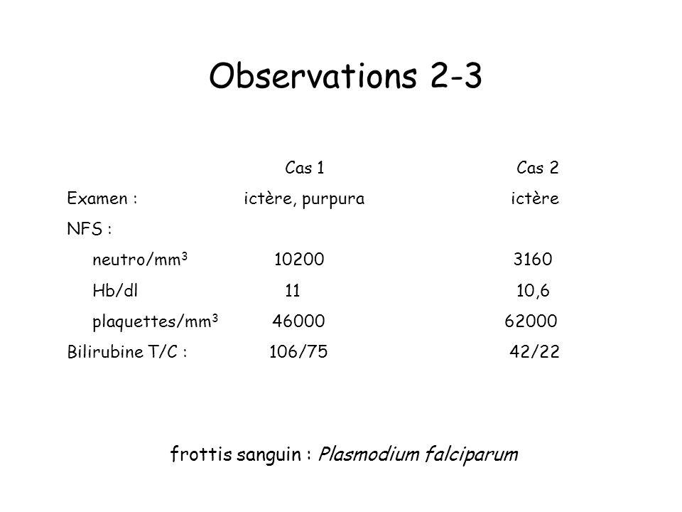 Observations 2-3 Cas 1 Cas 2 Examen : ictère, purpura ictère NFS : neutro/mm 3 10200 3160 Hb/dl 11 10,6 plaquettes/mm 3 46000 62000 Bilirubine T/C : 106/75 42/22 frottis sanguin : Plasmodium falciparum