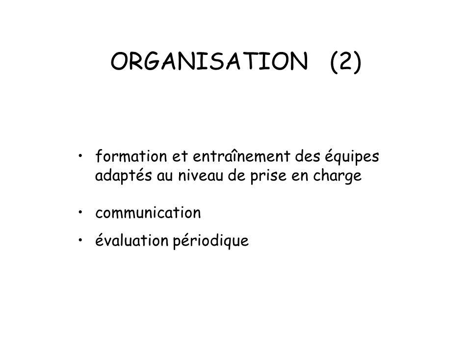 ORGANISATION (2) formation et entraînement des équipes adaptés au niveau de prise en charge communication évaluation périodique