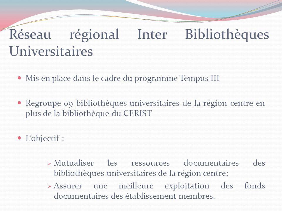 Conclusion Le Catalogue Collectif National aura pour vocation de donner une visibilité sur les ressources documentaires disponibles au niveau des bibliothèques algériennes.