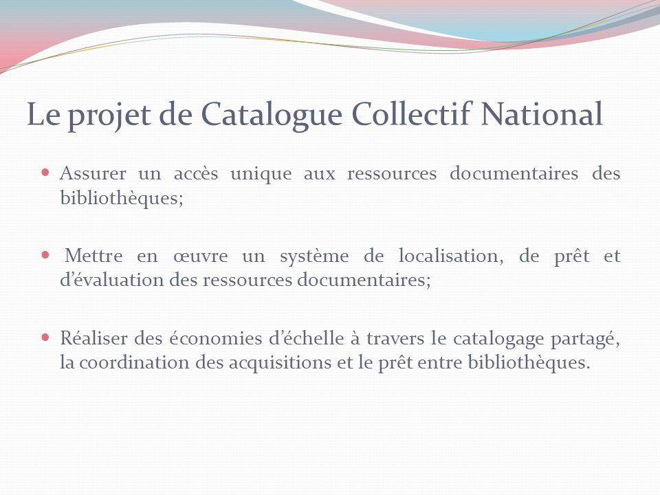 Caractéristiques du Catalogue Collectif National Caractéristique géographique: catalogue collectif national (les bibliothèques au niveau national); Type de bibliothèques: les bibliothèques du secteur de lenseignement supérieur principalement et tout autre bibliothèque.